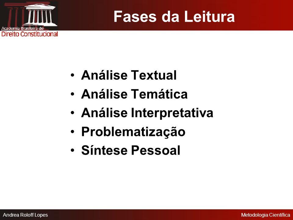 Andrea Roloff LopesMetodologia Científica Para esquematizar: O esquema é a distribuição gráfica do assunto, mediante divisões e subdivisões hierárquic