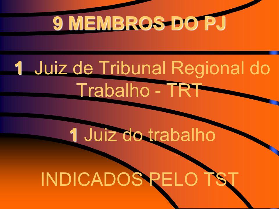 9 MEMBROS DO PJ 1 1 9 MEMBROS DO PJ 1 Juiz de Tribunal Regional do Trabalho - TRT 1 Juiz do trabalho INDICADOS PELO TST