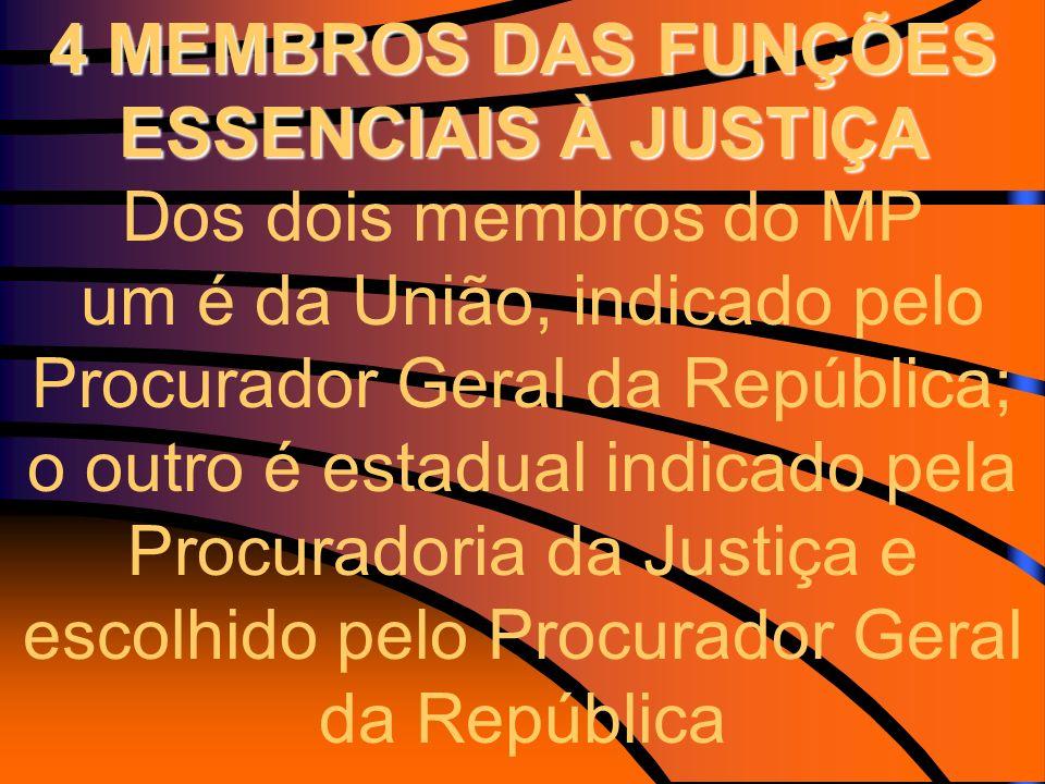 4 MEMBROS DAS FUNÇÕES ESSENCIAIS À JUSTIÇA 4 MEMBROS DAS FUNÇÕES ESSENCIAIS À JUSTIÇA Dos dois membros do MP um é da União, indicado pelo Procurador G