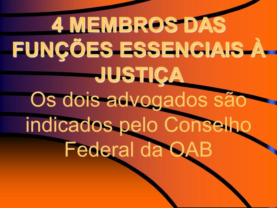 4 MEMBROS DAS FUNÇÕES ESSENCIAIS À JUSTIÇA 4 MEMBROS DAS FUNÇÕES ESSENCIAIS À JUSTIÇA Os dois advogados são indicados pelo Conselho Federal da OAB