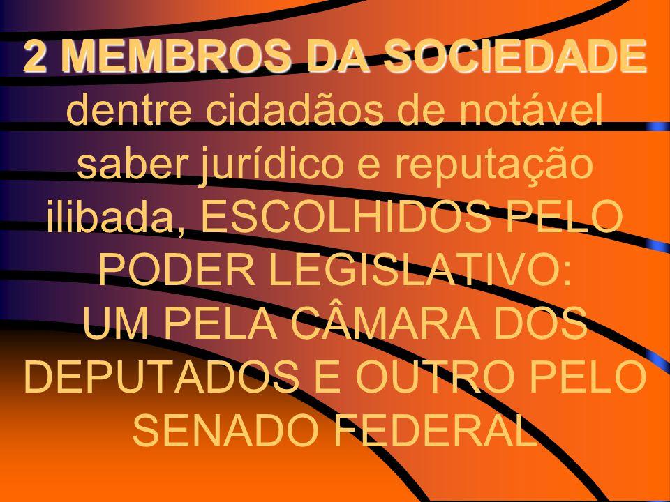 2 MEMBROS DA SOCIEDADE 2 MEMBROS DA SOCIEDADE dentre cidadãos de notável saber jurídico e reputação ilibada, ESCOLHIDOS PELO PODER LEGISLATIVO: UM PEL