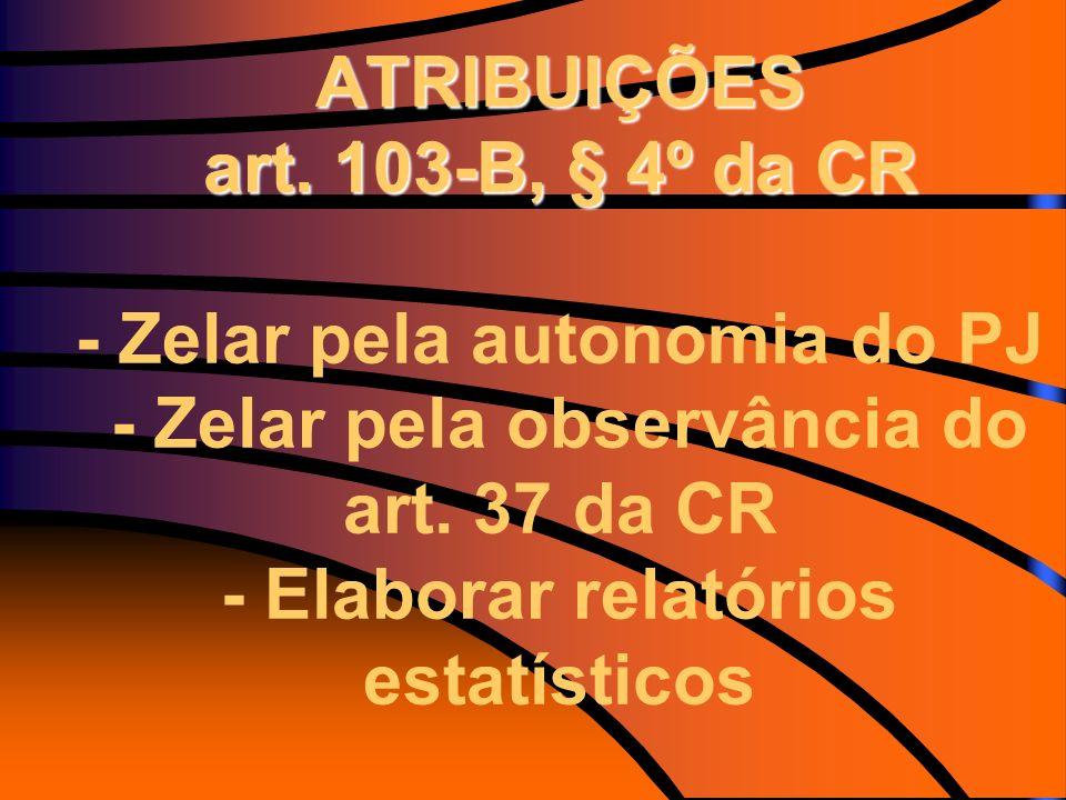 ATRIBUIÇÕES art. 103-B, § 4º da CR ATRIBUIÇÕES art. 103-B, § 4º da CR - Zelar pela autonomia do PJ - Zelar pela observância do art. 37 da CR - Elabora