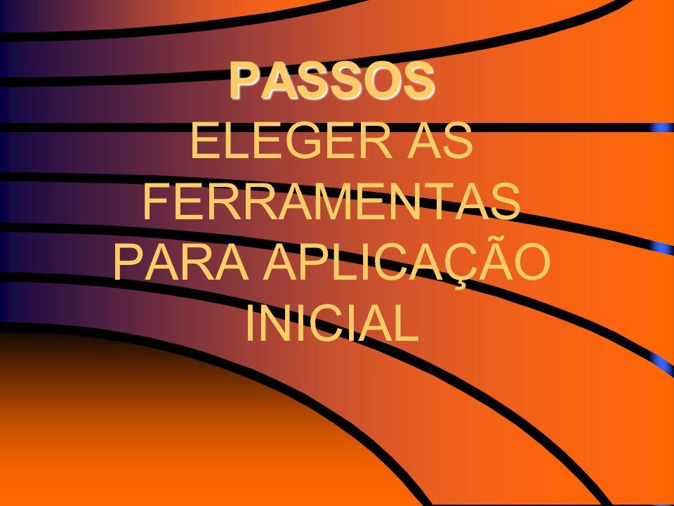 PASSOS PASSOS ELEGER AS FERRAMENTAS PARA APLICAÇÃO INICIAL