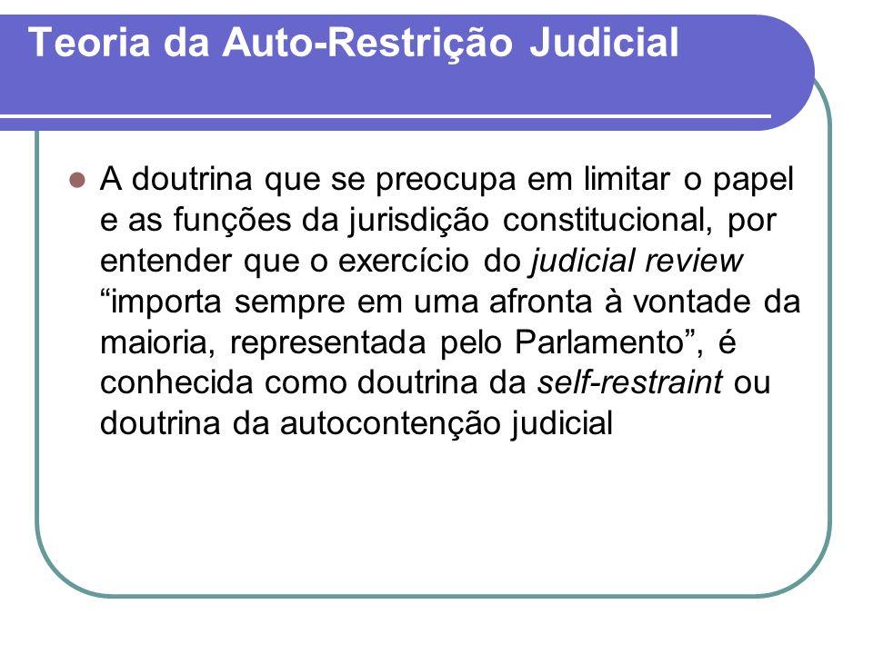 Teoria da Auto-Restrição Judicial A doutrina que se preocupa em limitar o papel e as funções da jurisdição constitucional, por entender que o exercíci