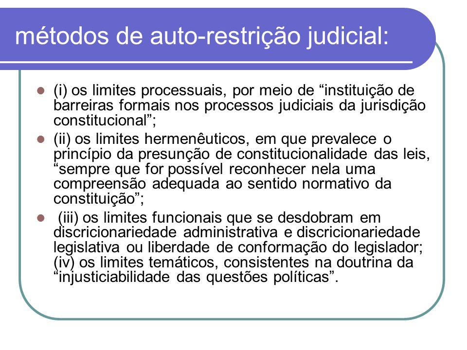 métodos de auto-restrição judicial: (i) os limites processuais, por meio de instituição de barreiras formais nos processos judiciais da jurisdição con