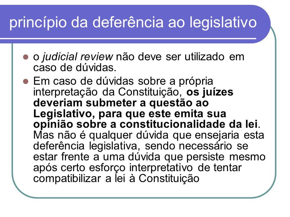 princípio da deferência ao legislativo o judicial review não deve ser utilizado em caso de dúvidas. Em caso de dúvidas sobre a própria interpretação d