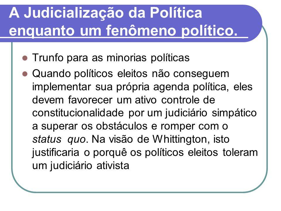 A Judicialização da Política enquanto um fenômeno político. Trunfo para as minorias políticas Quando políticos eleitos não conseguem implementar sua p