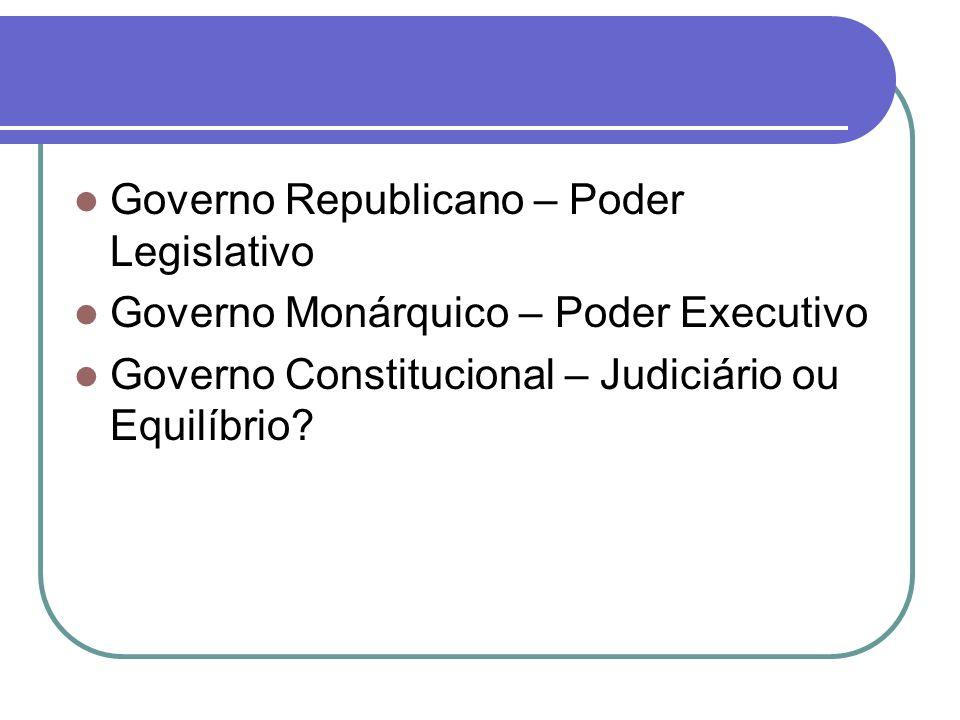 Governo Republicano – Poder Legislativo Governo Monárquico – Poder Executivo Governo Constitucional – Judiciário ou Equilíbrio?