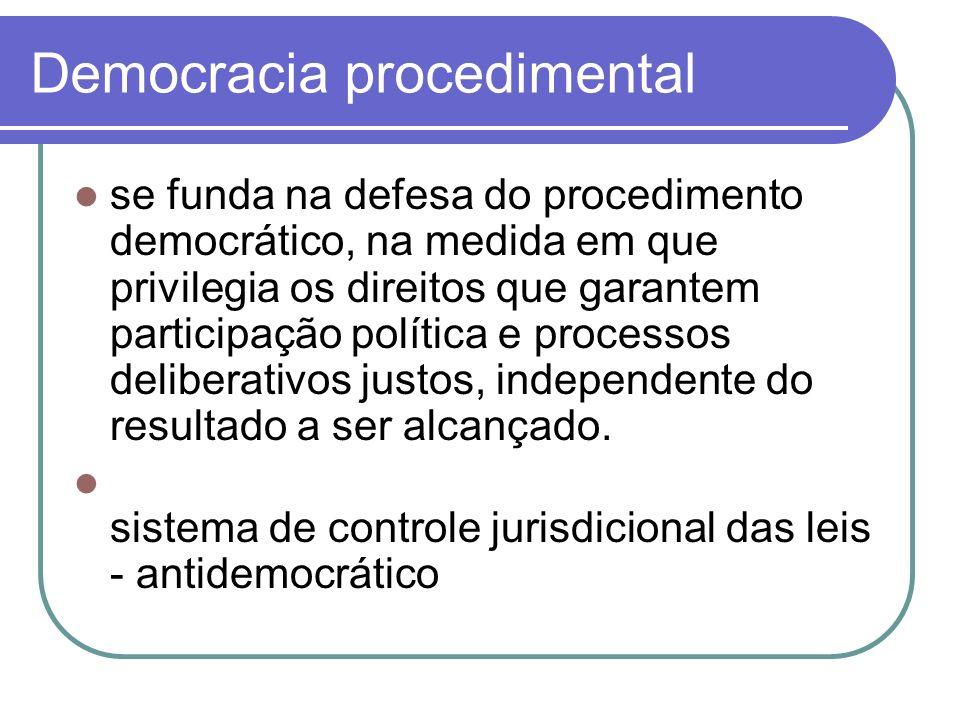 Democracia procedimental se funda na defesa do procedimento democrático, na medida em que privilegia os direitos que garantem participação política e