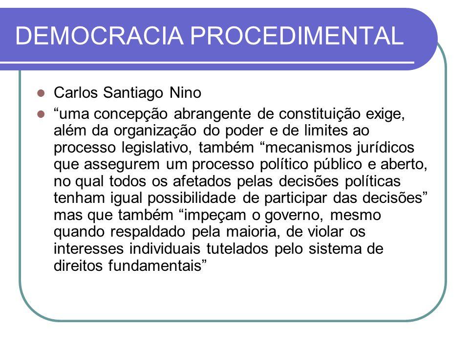 DEMOCRACIA PROCEDIMENTAL Carlos Santiago Nino uma concepção abrangente de constituição exige, além da organização do poder e de limites ao processo le