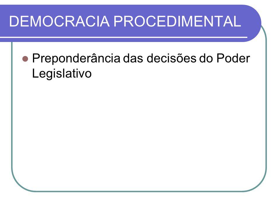 DEMOCRACIA PROCEDIMENTAL Preponderância das decisões do Poder Legislativo