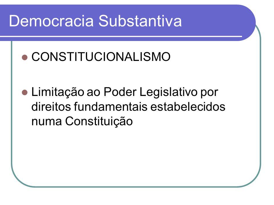 Democracia Substantiva CONSTITUCIONALISMO Limitação ao Poder Legislativo por direitos fundamentais estabelecidos numa Constituição