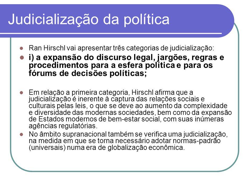 Judicialização da política Ran Hirschl vai apresentar três categorias de judicialização: i) a expansão do discurso legal, jargões, regras e procedimen