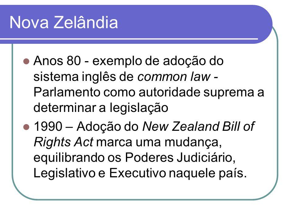 Nova Zelândia Anos 80 - exemplo de adoção do sistema inglês de common law - Parlamento como autoridade suprema a determinar a legislação 1990 – Adoção