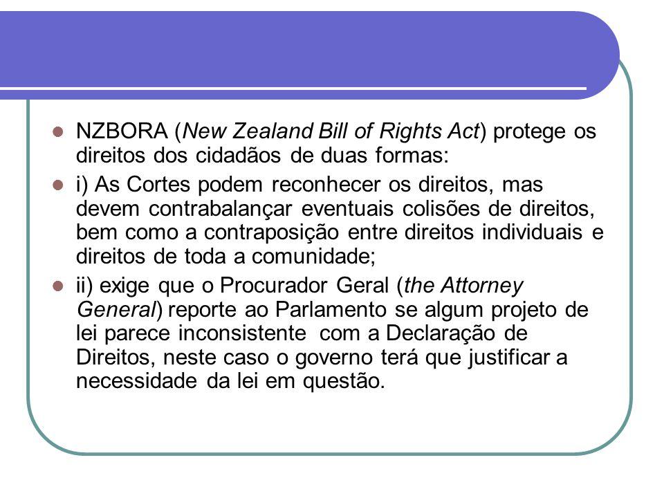 NZBORA (New Zealand Bill of Rights Act) protege os direitos dos cidadãos de duas formas: i) As Cortes podem reconhecer os direitos, mas devem contraba