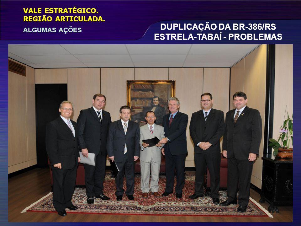 VALE ESTRATÉGICO. ALGUMAS AÇÕES REGIÃO ARTICULADA. DUPLICAÇÃO DA BR-386/RS ESTRELA-TABAÍ - PROBLEMAS