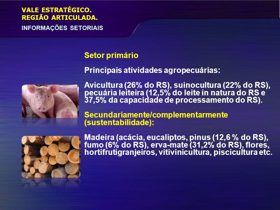 VALE ESTRATÉGICO. INFORMAÇÕES SETORIAIS REGIÃO ARTICULADA. Setor primário Principais atividades agropecuárias: Avicultura (26% do RS), suinocultura (2