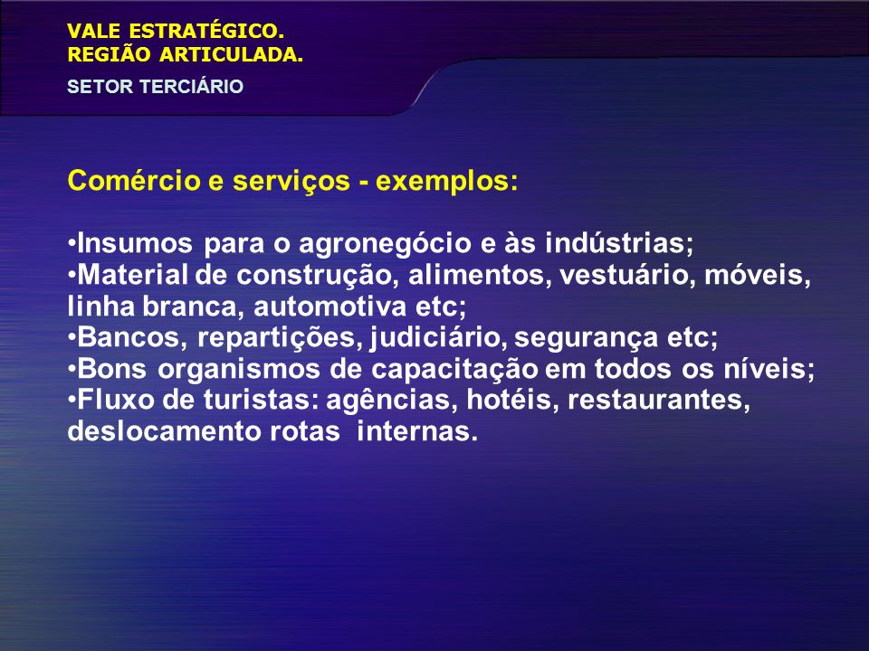 VALE ESTRATÉGICO. SETOR TERCIÁRIO REGIÃO ARTICULADA. Comércio e serviços - exemplos: Insumos para o agronegócio e às indústrias; Material de construçã