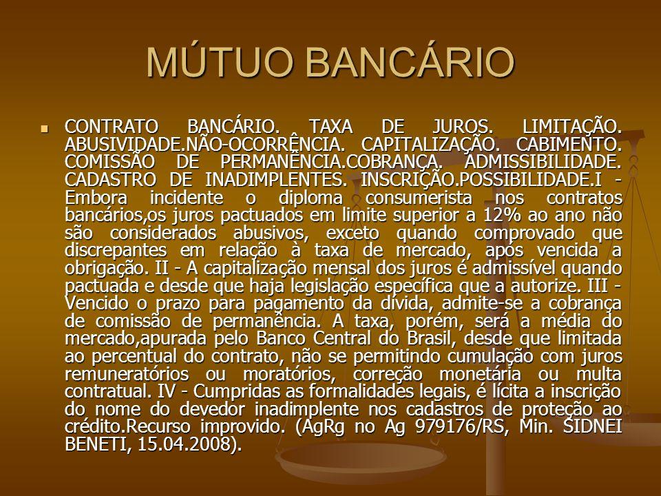 MÚTUO BANCÁRIO CONTRATO BANCÁRIO. TAXA DE JUROS. LIMITAÇÃO. ABUSIVIDADE.NÃO-OCORRÊNCIA. CAPITALIZAÇÃO. CABIMENTO. COMISSÃO DE PERMANÊNCIA.COBRANÇA. AD