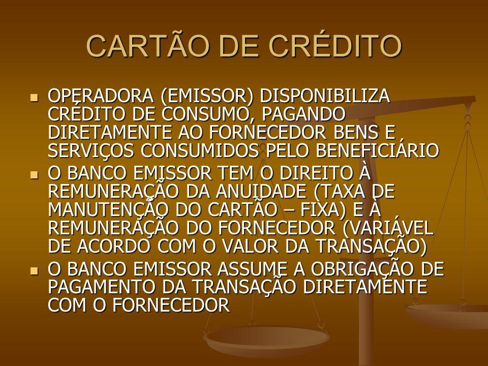 CARTÃO DE CRÉDITO OPERADORA (EMISSOR) DISPONIBILIZA CRÉDITO DE CONSUMO, PAGANDO DIRETAMENTE AO FORNECEDOR BENS E SERVIÇOS CONSUMIDOS PELO BENEFICIÁRIO