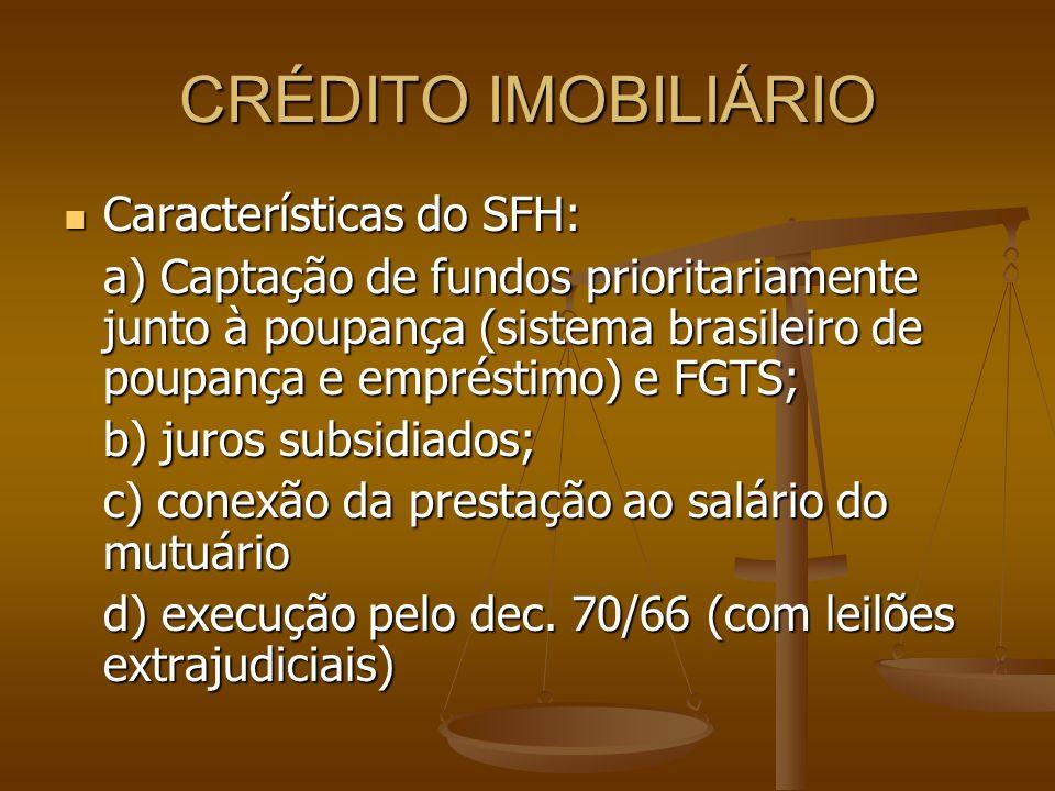 CRÉDITO IMOBILIÁRIO Características do SFH: Características do SFH: a) Captação de fundos prioritariamente junto à poupança (sistema brasileiro de pou