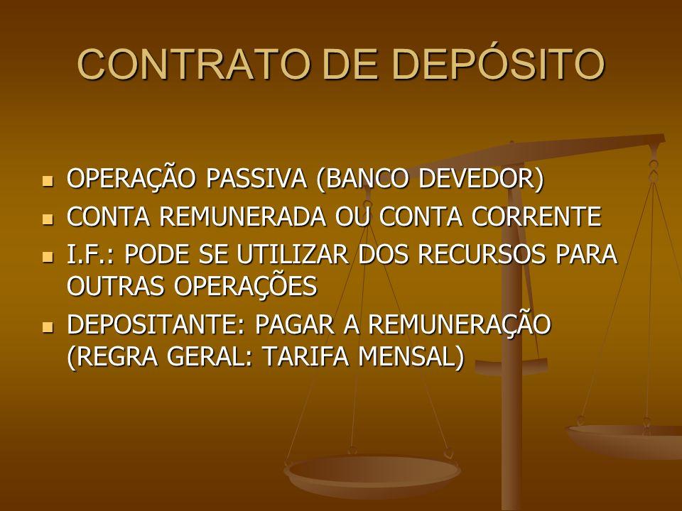 CONTRATO DE DEPÓSITO OPERAÇÃO PASSIVA (BANCO DEVEDOR) OPERAÇÃO PASSIVA (BANCO DEVEDOR) CONTA REMUNERADA OU CONTA CORRENTE CONTA REMUNERADA OU CONTA CO
