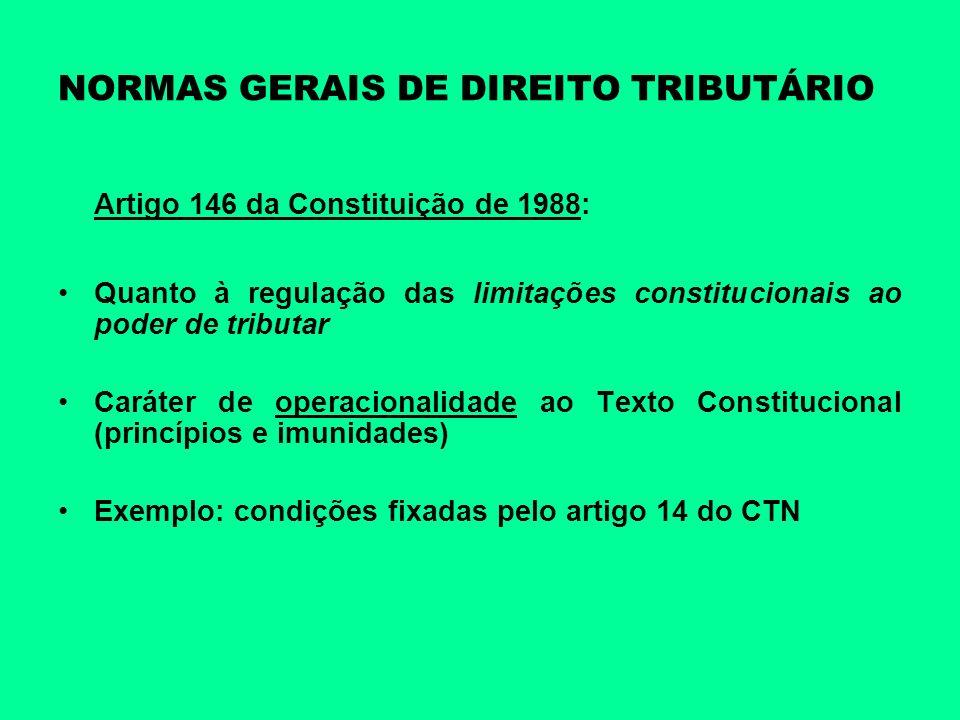 NORMAS GERAIS DE DIREITO TRIBUTÁRIO Artigo 146 da Constituição de 1988: Quanto à regulação das limitações constitucionais ao poder de tributar Caráter