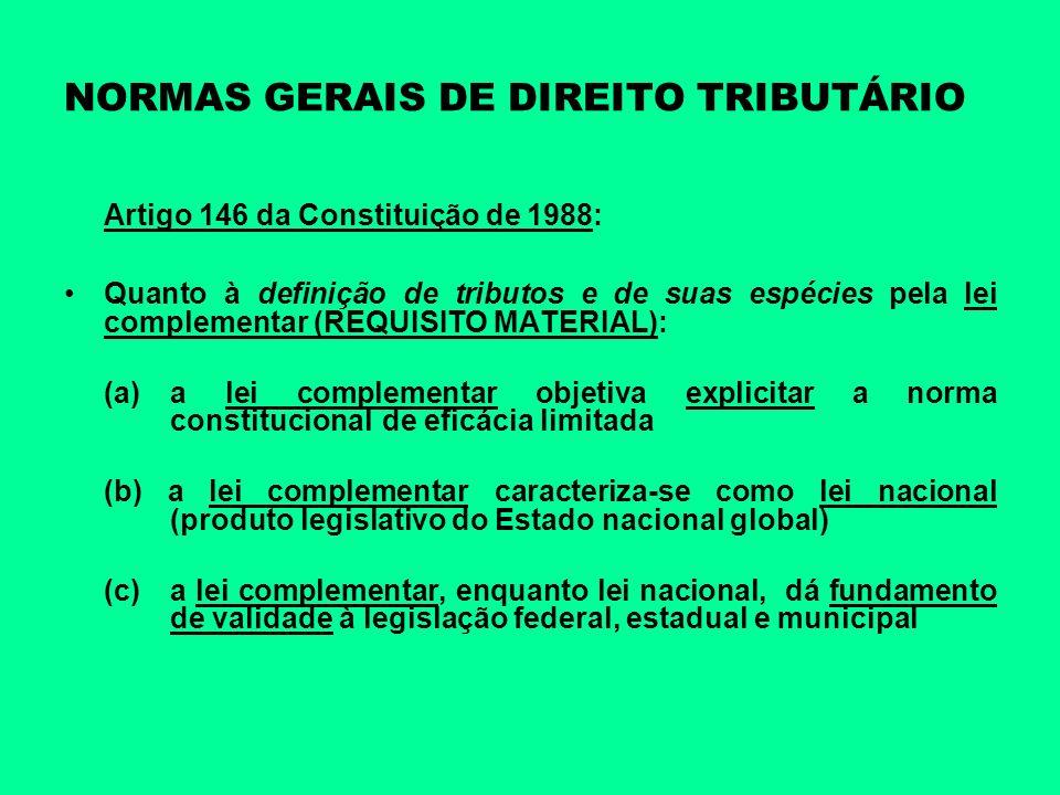 NORMAS GERAIS DE DIREITO TRIBUTÁRIO Artigo 146 da Constituição de 1988: Quanto à definição de tributos e de suas espécies pela lei complementar (REQUI
