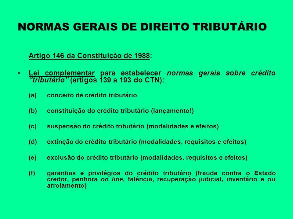 NORMAS GERAIS DE DIREITO TRIBUTÁRIO Artigo 146 da Constituição de 1988: Lei complementar para estabelecer normas gerais sobre crédito tributário (arti