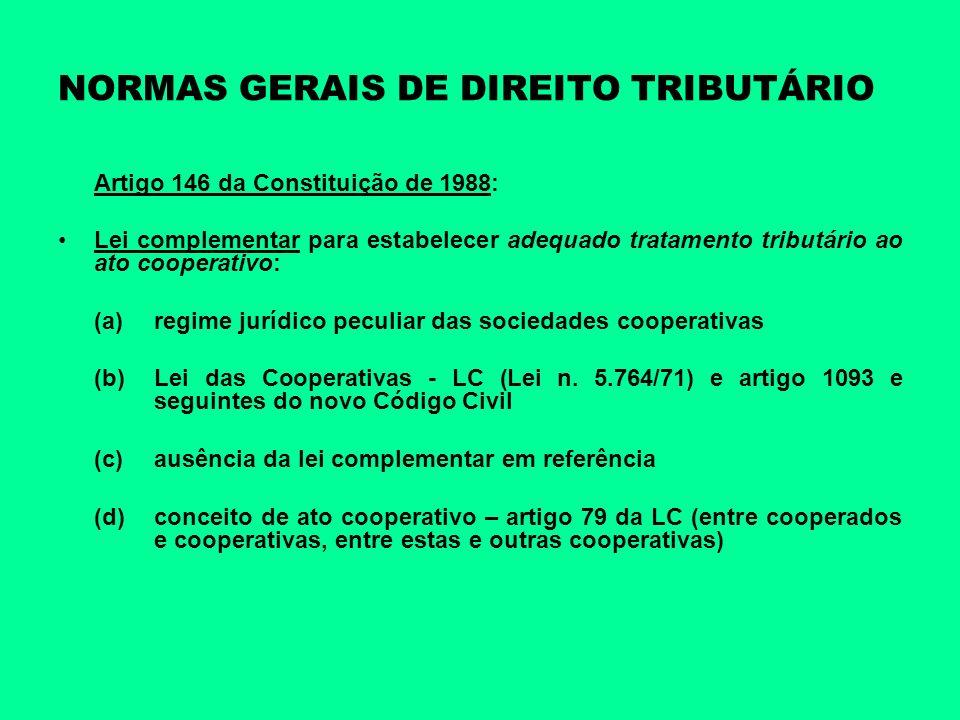 NORMAS GERAIS DE DIREITO TRIBUTÁRIO Artigo 146 da Constituição de 1988: Lei complementar para estabelecer adequado tratamento tributário ao ato cooper