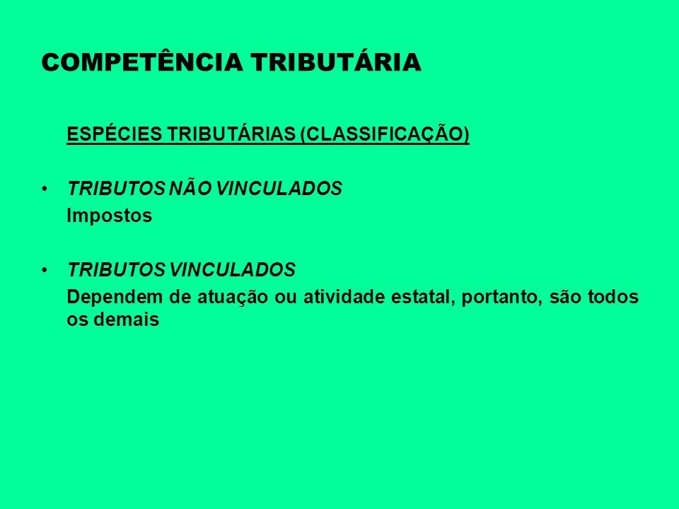COMPETÊNCIA TRIBUTÁRIA ESPÉCIES TRIBUTÁRIAS (CLASSIFICAÇÃO) TRIBUTOS NÃO VINCULADOS Impostos TRIBUTOS VINCULADOS Dependem de atuação ou atividade esta