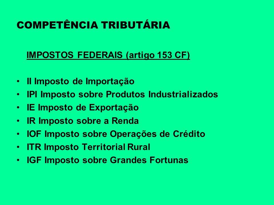 COMPETÊNCIA TRIBUTÁRIA IMPOSTOS FEDERAIS (artigo 153 CF) II Imposto de Importação IPI Imposto sobre Produtos Industrializados IE Imposto de Exportação