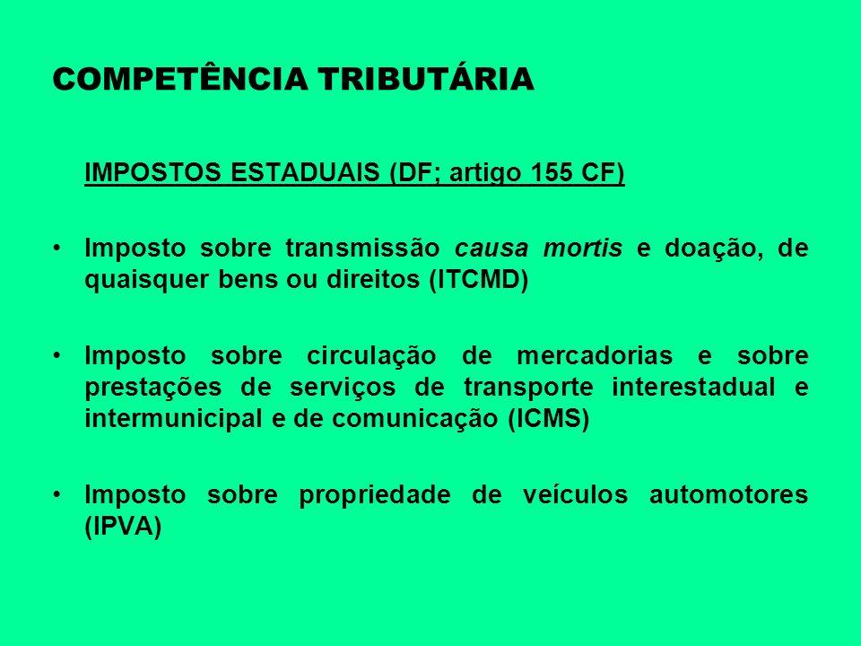 COMPETÊNCIA TRIBUTÁRIA IMPOSTOS ESTADUAIS (DF; artigo 155 CF) Imposto sobre transmissão causa mortis e doação, de quaisquer bens ou direitos (ITCMD) I