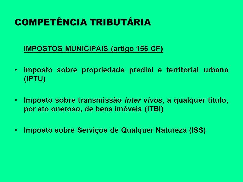 COMPETÊNCIA TRIBUTÁRIA IMPOSTOS MUNICIPAIS (artigo 156 CF) Imposto sobre propriedade predial e territorial urbana (IPTU) Imposto sobre transmissão int