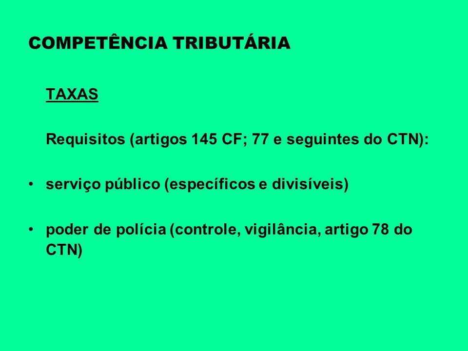COMPETÊNCIA TRIBUTÁRIA TAXAS Requisitos (artigos 145 CF; 77 e seguintes do CTN): serviço público (específicos e divisíveis) poder de polícia (controle