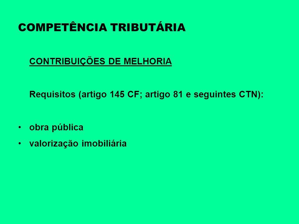 COMPETÊNCIA TRIBUTÁRIA CONTRIBUIÇÕES DE MELHORIA Requisitos (artigo 145 CF; artigo 81 e seguintes CTN): obra pública valorização imobiliária