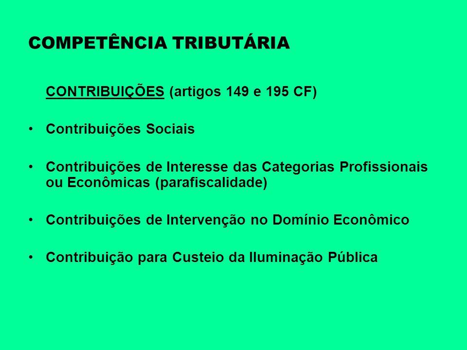 COMPETÊNCIA TRIBUTÁRIA CONTRIBUIÇÕES (artigos 149 e 195 CF) Contribuições Sociais Contribuições de Interesse das Categorias Profissionais ou Econômica