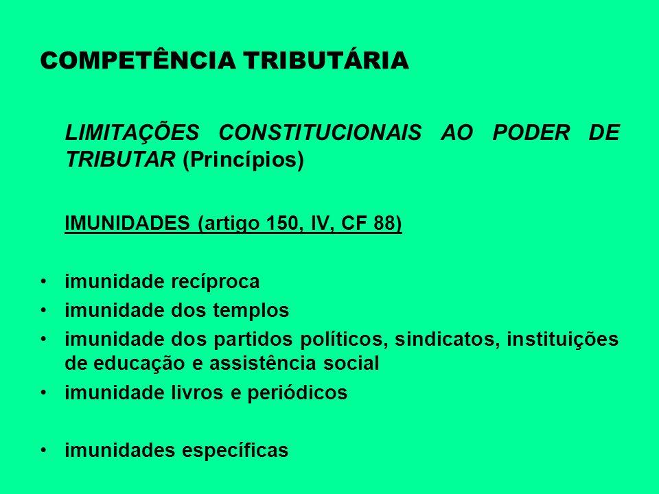 COMPETÊNCIA TRIBUTÁRIA LIMITAÇÕES CONSTITUCIONAIS AO PODER DE TRIBUTAR (Princípios) IMUNIDADES (artigo 150, IV, CF 88) imunidade recíproca imunidade d