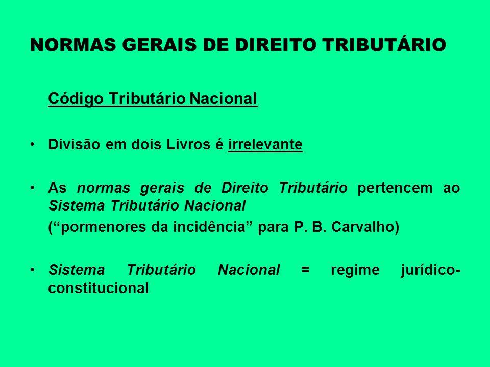 NORMAS GERAIS DE DIREITO TRIBUTÁRIO Código Tributário Nacional Divisão em dois Livros é irrelevante As normas gerais de Direito Tributário pertencem a