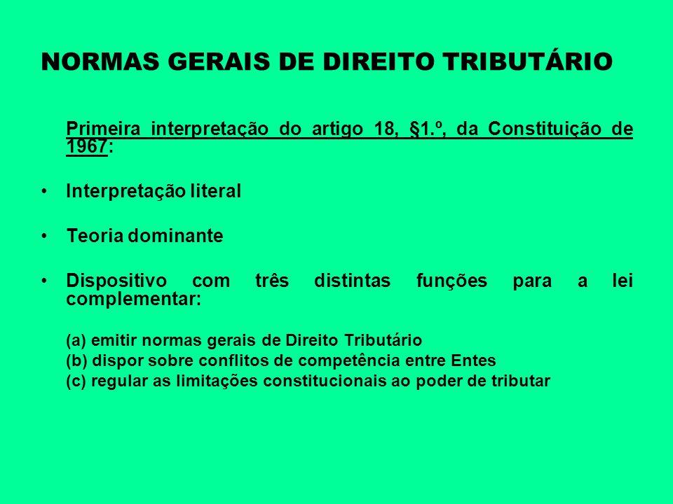 NORMAS GERAIS DE DIREITO TRIBUTÁRIO Primeira interpretação do artigo 18, §1.º, da Constituição de 1967: Interpretação literal Teoria dominante Disposi