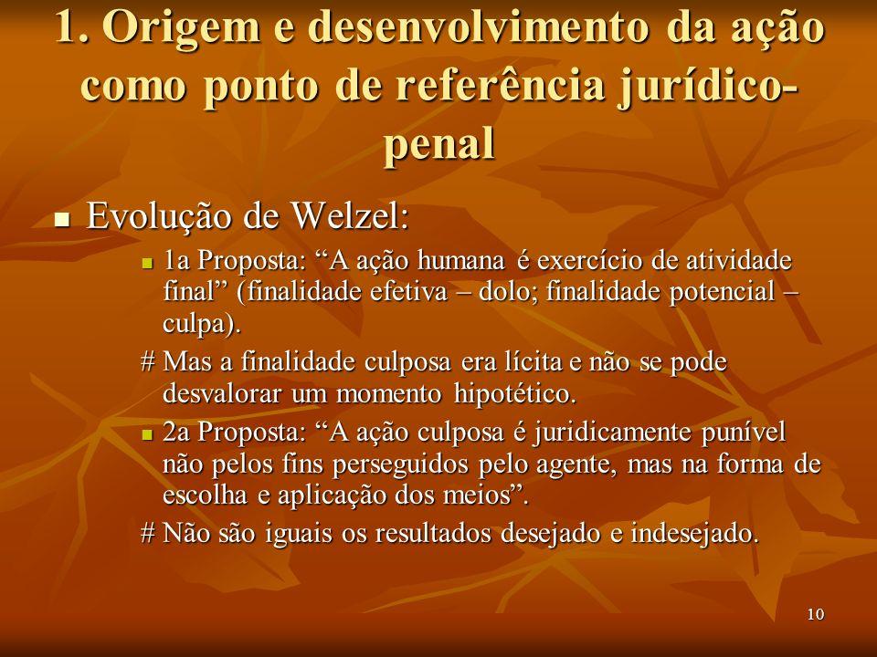 10 1. Origem e desenvolvimento da ação como ponto de referência jurídico- penal Evolução de Welzel: Evolução de Welzel: 1a Proposta: A ação humana é e