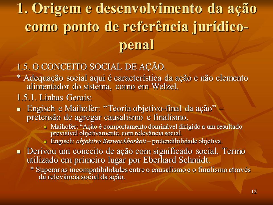 12 1. Origem e desenvolvimento da ação como ponto de referência jurídico- penal 1.5. O CONCEITO SOCIAL DE AÇÃO. * Adequação social aqui é característi