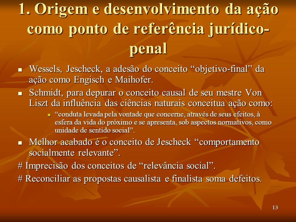 13 1. Origem e desenvolvimento da ação como ponto de referência jurídico- penal Wessels, Jescheck, a adesão do conceito objetivo-final da ação como En