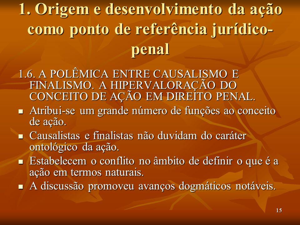 15 1. Origem e desenvolvimento da ação como ponto de referência jurídico- penal 1.6. A POLÊMICA ENTRE CAUSALISMO E FINALISMO. A HIPERVALORAÇÃO DO CONC