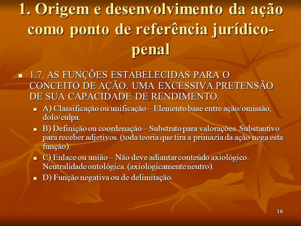 16 1. Origem e desenvolvimento da ação como ponto de referência jurídico- penal 1.7. AS FUNÇÕES ESTABELECIDAS PARA O CONCEITO DE AÇÃO. UMA EXCESSIVA P