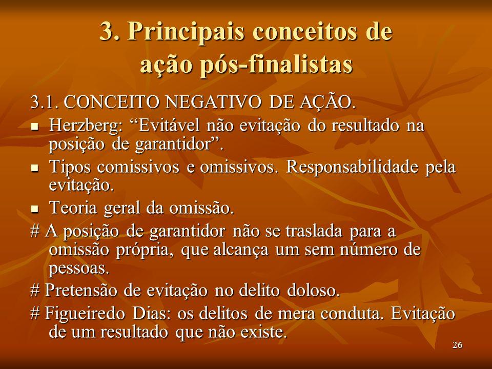 26 3. Principais conceitos de ação pós-finalistas 3.1. CONCEITO NEGATIVO DE AÇÃO. Herzberg: Evitável não evitação do resultado na posição de garantido
