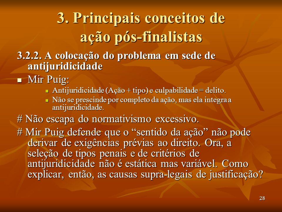 28 3. Principais conceitos de ação pós-finalistas 3.2.2. A colocação do problema em sede de antijuridicidade Mir Puig: Mir Puig: Antijuridicidade (Açã