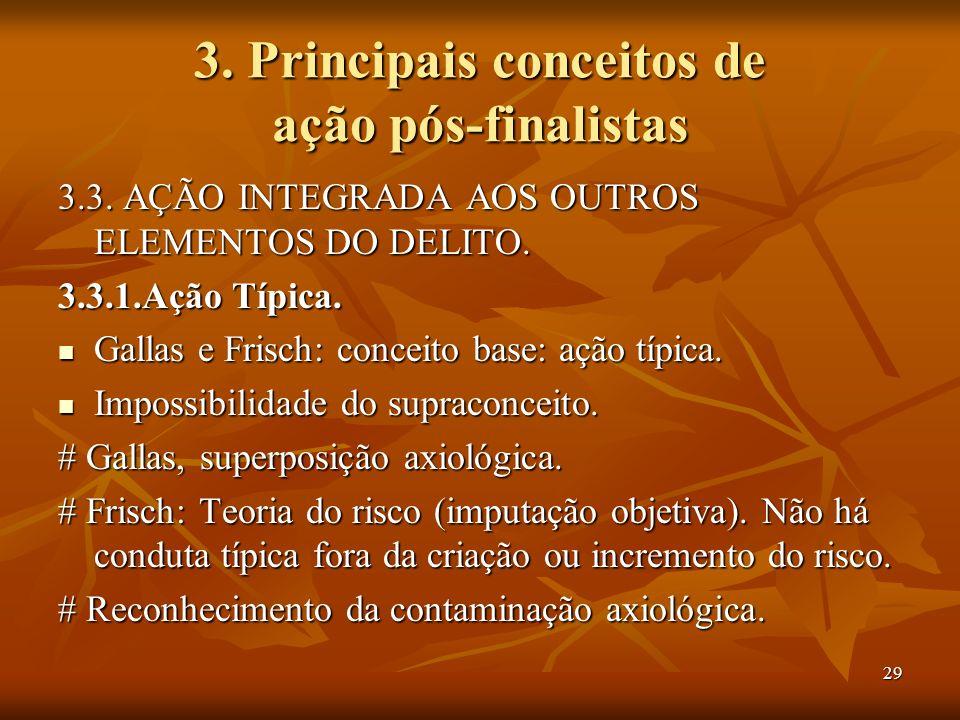 29 3. Principais conceitos de ação pós-finalistas 3.3. AÇÃO INTEGRADA AOS OUTROS ELEMENTOS DO DELITO. 3.3.1.Ação Típica. Gallas e Frisch: conceito bas