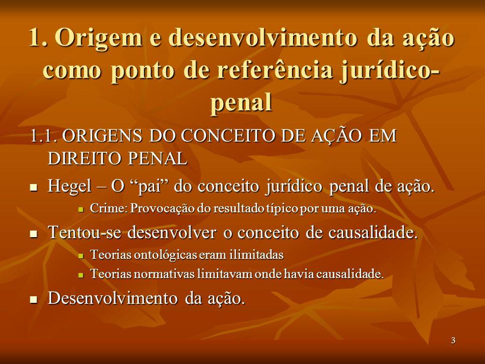 3 1. Origem e desenvolvimento da ação como ponto de referência jurídico- penal 1.1. ORIGENS DO CONCEITO DE AÇÃO EM DIREITO PENAL Hegel – O pai do conc