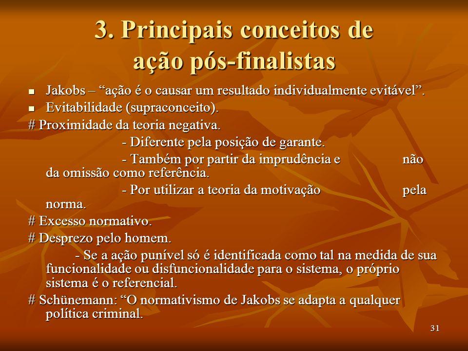 31 3. Principais conceitos de ação pós-finalistas Jakobs – ação é o causar um resultado individualmente evitável. Jakobs – ação é o causar um resultad